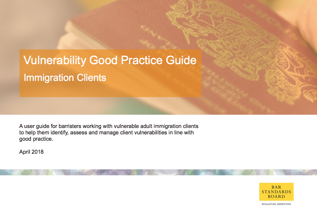 BSB publishes Vulnerability Good Practice Guide (Immigration Clients) for Immigration Barristers