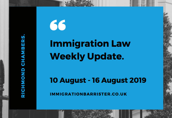 Immigration law update for 10 August to 16 August 2019